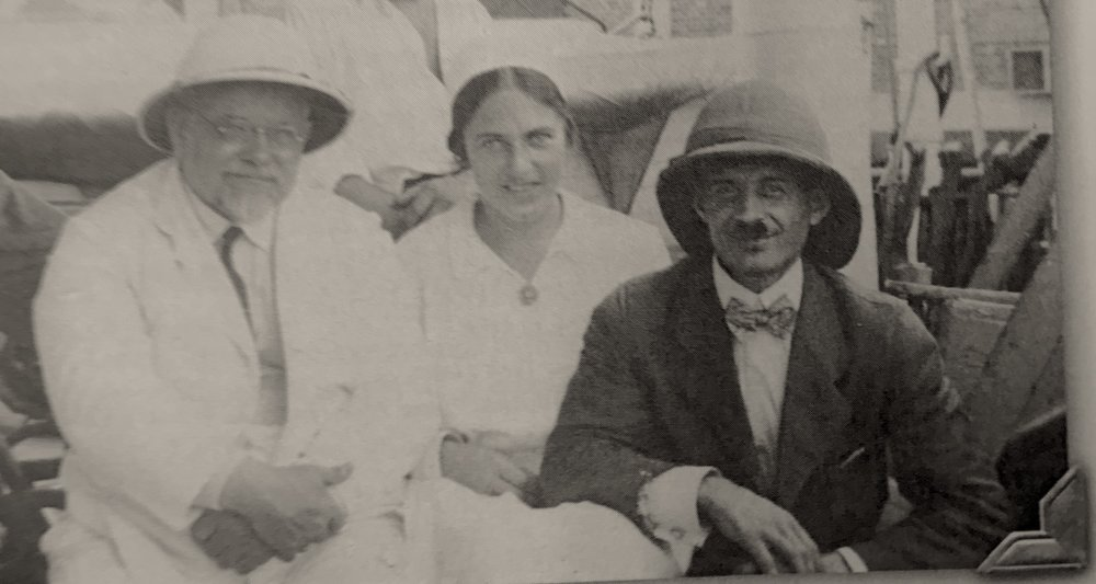 Richard Reusch (right) with the Henrich Pfitzinger family cross the Suez Canal on their way to Tanganyika Territory. February, 1923. Image from Johnson   (2008: 121).