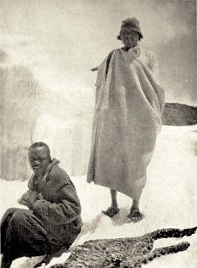Jonathan, Mikani, and the remains of a frozen leopard on Kilimanjaro, 1926. Image from  here.