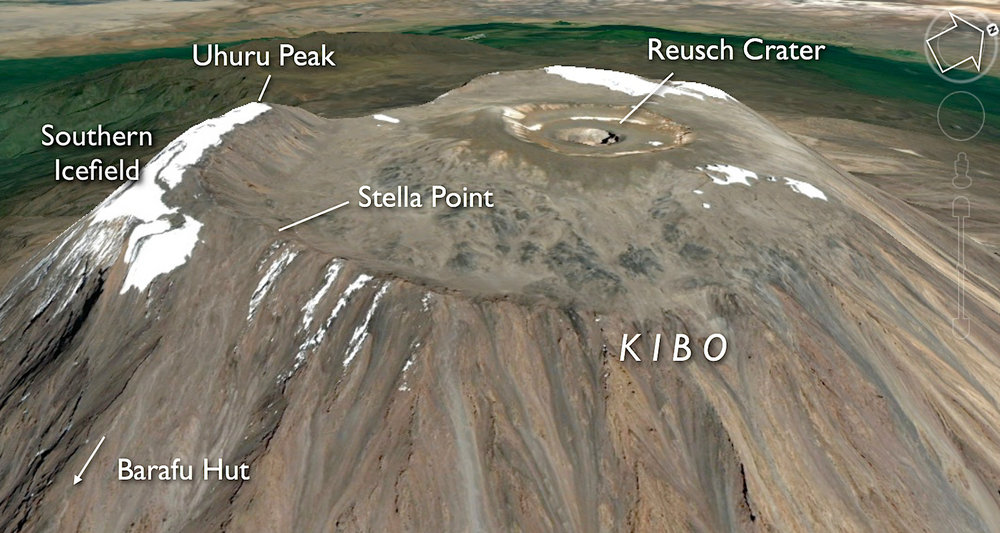 Features of Kibo's summit. Image courtesy of Google Earth.