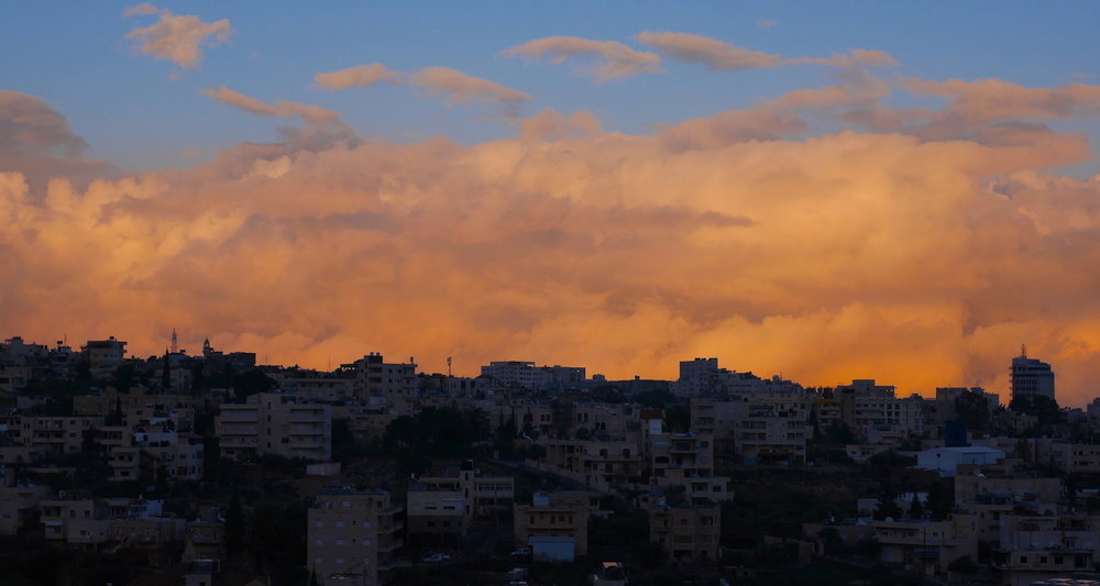 A stormy sunset from my hotel window in Beit Jala, Palestine.