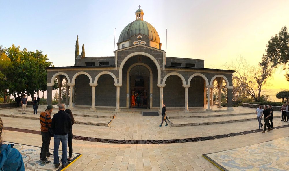 A warm sunny evening at the Barluzzi chapel on the Mount of Beatitudes (Sea of Galilee). Photo by Bible Land Explorer Jay Hess.