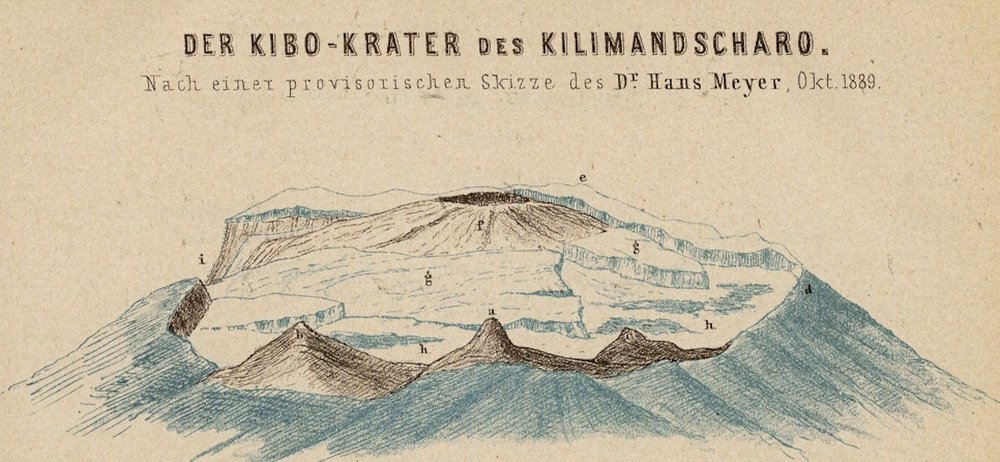 Drawing of the Kilimanjaro's crater published in Hans Meyer's publication,Der Kibo-Krater des Kilimandscharo (1890). Image available  here.