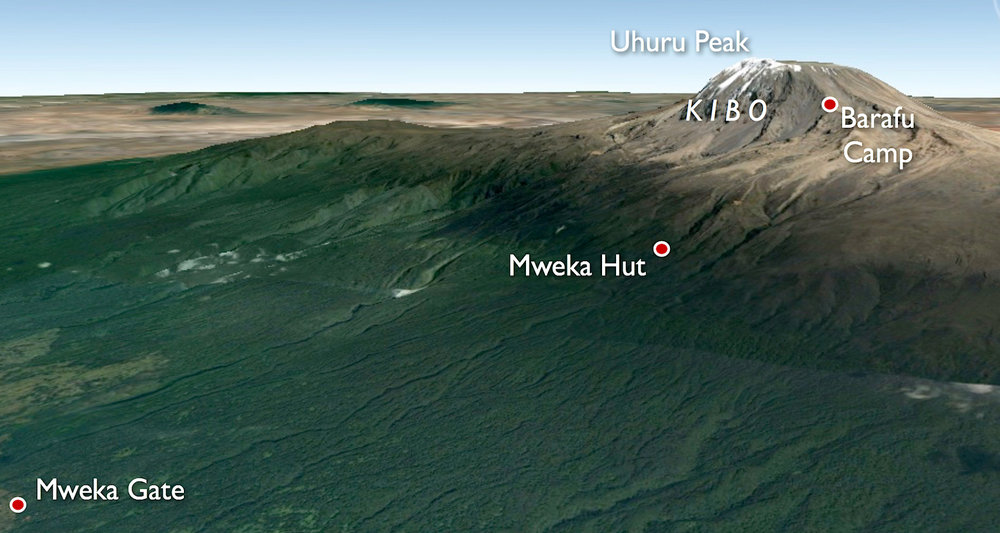 Places involved in our descent from Mt Kilimanjaro.