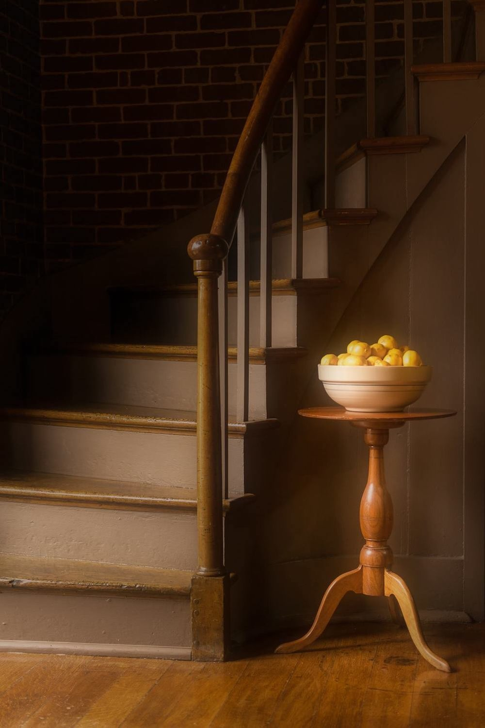 Shaker Village staircase with lemons