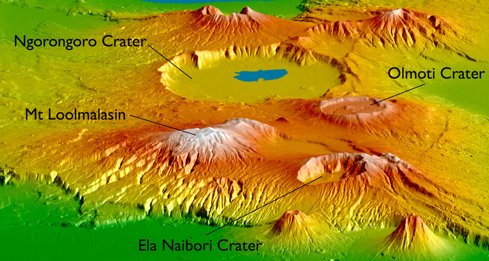 Ngorongoro Crater is the footprint of an ancient African volcano. This image, with its southwest view to the end of the EAR in Tanzania, is adapted from a NASA image. Find the source  here.