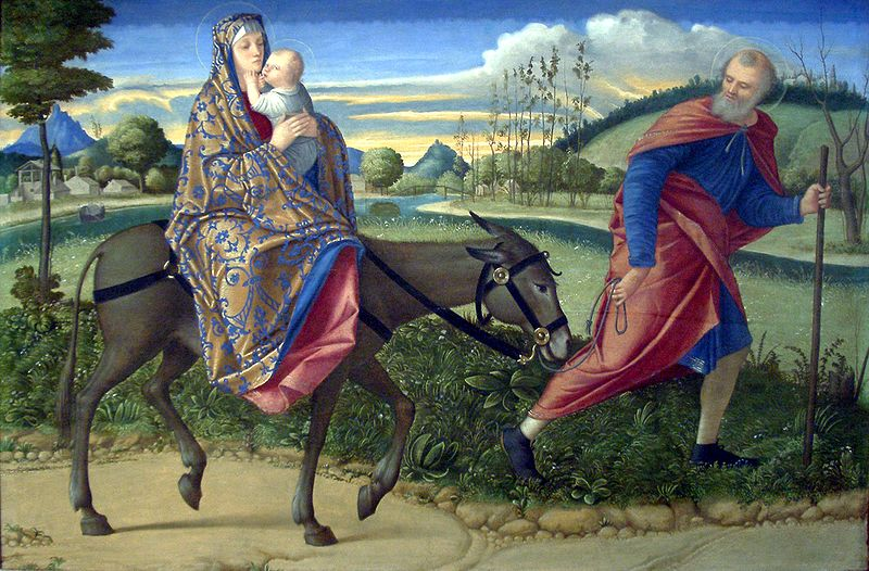 "Carpaccio's ""Flight into Egypt"" about 1515. Image from  here."