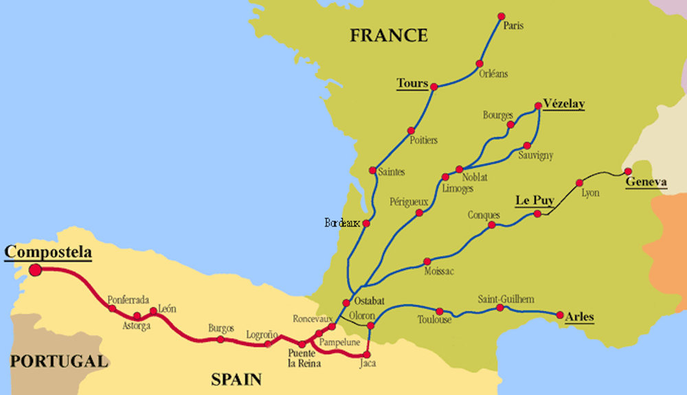 """There are four major routes or """"streams"""" across France that feed the Camino de Santiago. Recognize that the site labeled here as Compostela is the same as Santiago de Compostela or simply Santiago. Image from    here   , accessed 6/27/2018."""