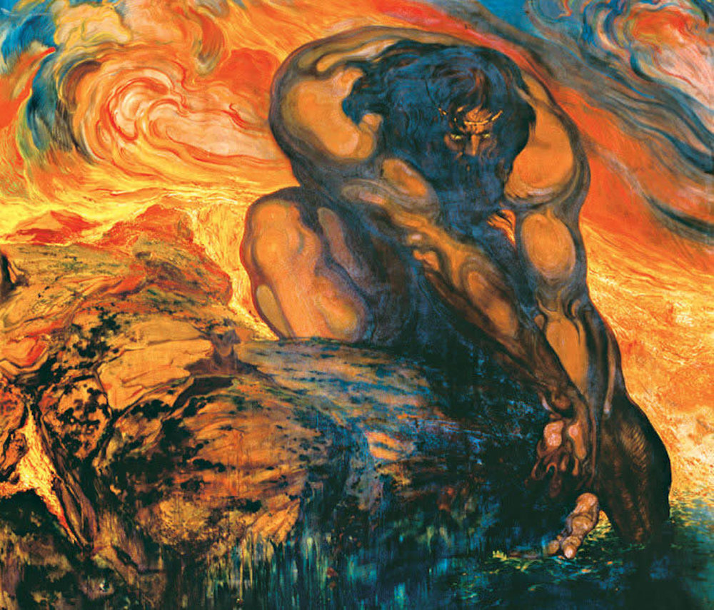 """Néstor Martín-Fernández de la Torre,    """"   Hercules Gathering the Stones of Pyrene's Tomb amidst the Flames"""" (1909). Image from    here    (accessed 8/5/2018)."""