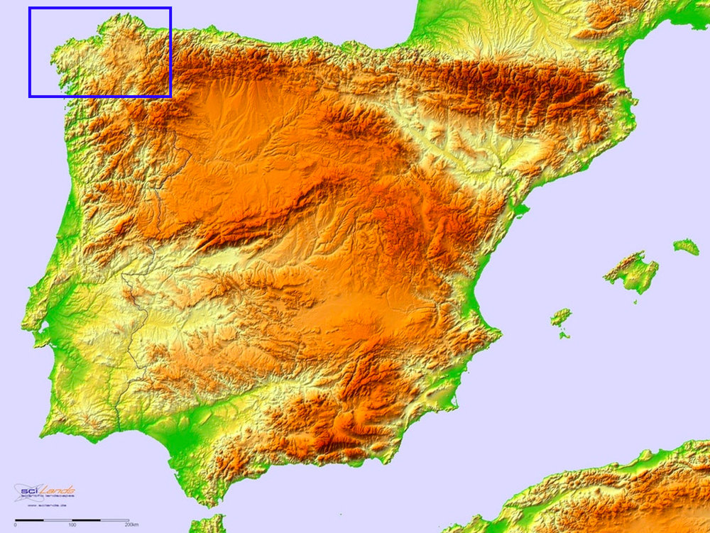 Topographic image of the Iberian Peninsula. The Roman administrative district of   Conventus Lucensisarea is located in the area marked by the blue square. Original image from  here  (accessed 8/7/2018).
