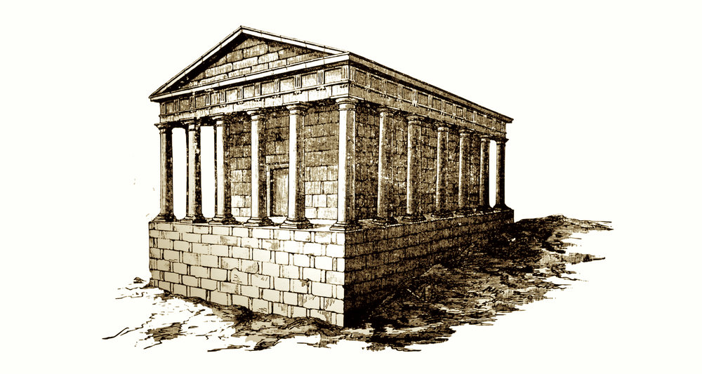 A reconstruction of  what Palayo found? The area may have been a burial ground in the Roman period (other remains and funerary inscription have been recovered in the vicinity). The reconstructed building suggested here is quite elaborate and suggests the form of a first or second century peristyle (meaning columns all around) mausoleum. Might it have been purposively buried for the sake of preservation in a period of Christian persecution? This drawing is from a display in the Museum of Pilgrimage, Santiago, Spain.
