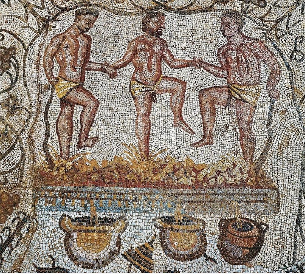 Three men tread grapes. This 2nd century AD mosaic is from the Amphitheatre House, Merida, Spain. It illustrates a part of the job of wine-making. Image from  here  (accessed 8/29/2018).