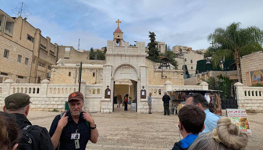 The Chantilly group in the area of Mary's well. Nazareth. Orthodox tradition suggests that in this place Gabriel announced to Mary that she would conceive, give birth to a son, and name him Jesus. See Luke 1:26-38    here   . Image by Melinda.
