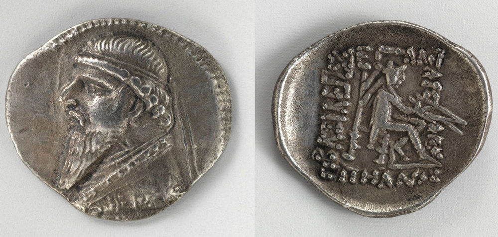 This silver drachm is part of the collection of Metropolitan Museum of Art in New York. It depicts King Mithridates II (ca. 124-88 BC) on the obverse. His dress and poise is very Hellenistic. On the reverse is an archer holding a bow. For more on this coin see site    here.