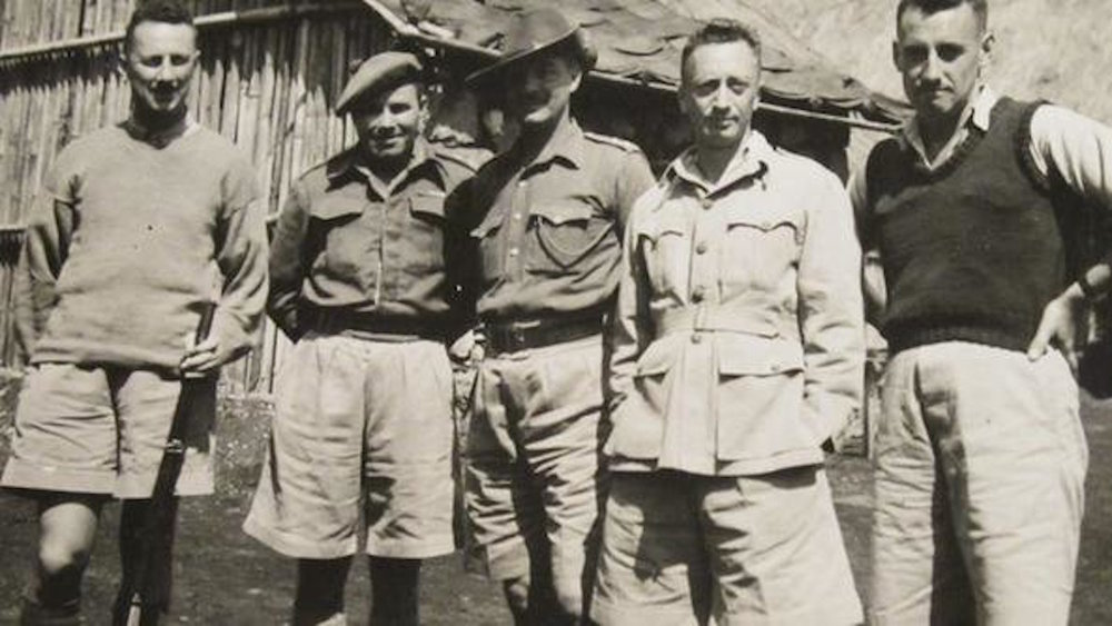 Benuzzi, far right, with friends from the prison camp. Image from    here.