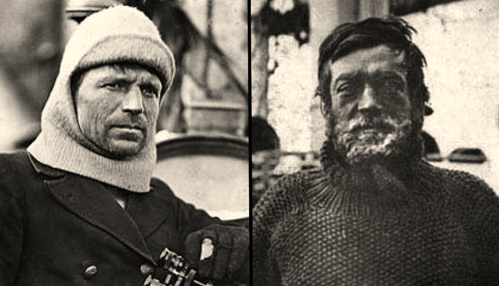 Frank Worsley (left) and Sir Ernest Shackleton (right). Images found    here    and    here   .