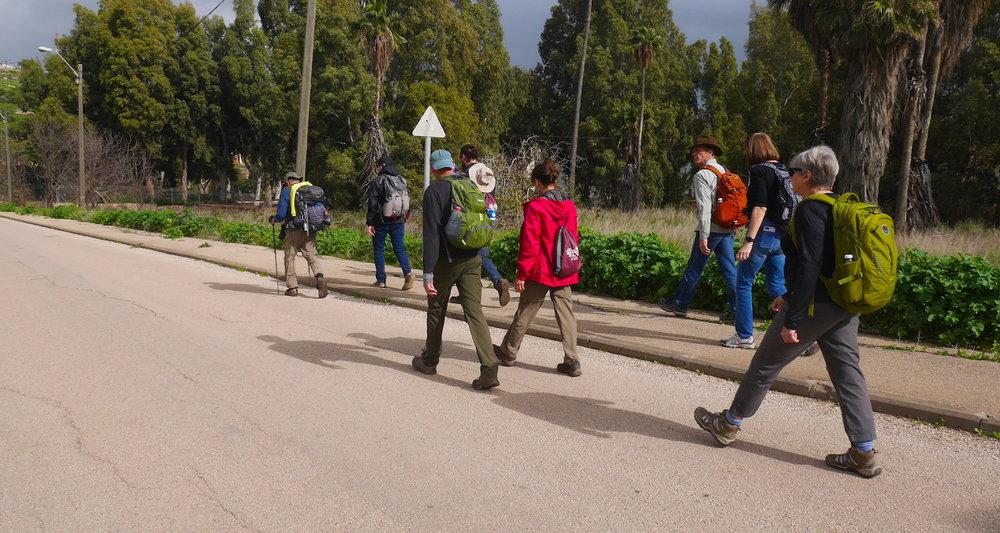 Jesus Trail hikers near Karei Deshe.