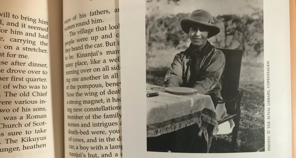 Karen Blixen pictured on the flap of the book jacket.