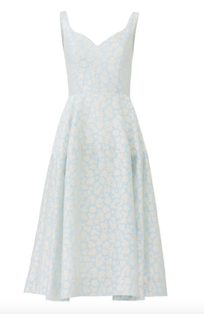 Jill Jill Stuart Blue Bonnie Floral Jacquard Midi Dress  $438.00 or find it on  Rent the Runway