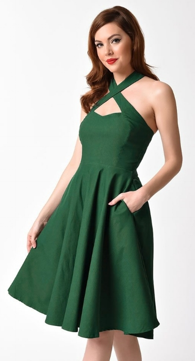 Unique Vintage 1950s Emerald Green Cross Halter Rita Flare Dress  $78.00