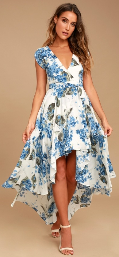 Lulus Lovely White Floral Print Wrap Dress   $94.00