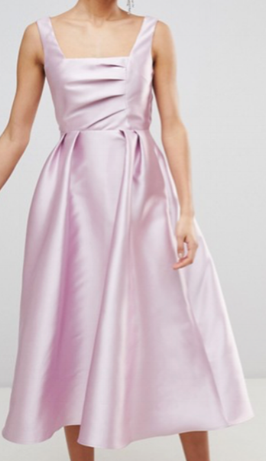 Asos Design Structured Prom Midi Dress with Square Neck  $103.00