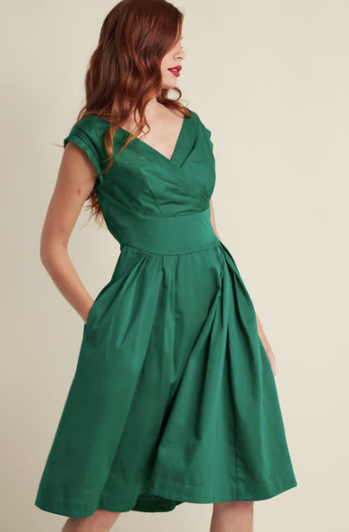 ModCloth Emily and Fin Keener Postures Midi Dress in Clover   $125.00