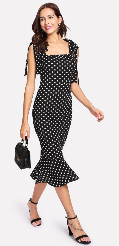 SHEIN Self Tie Shoulder Polka Dot Ruffle Hem Dress  $13.00