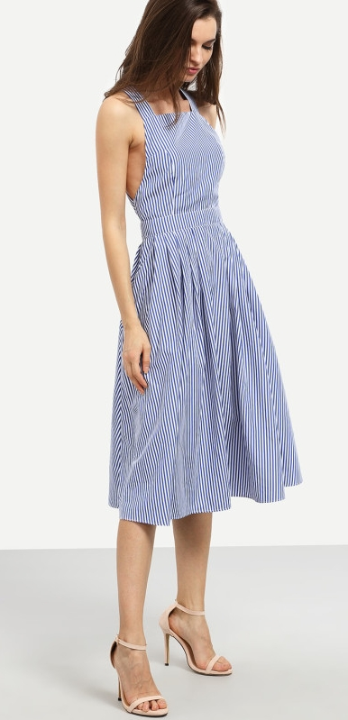 SHEIN Striped Criss Cross Back Swing Dress   $23.00