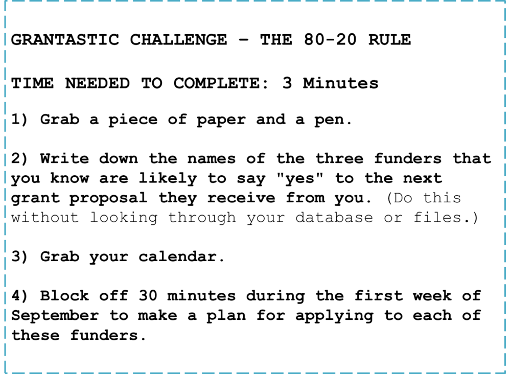 Grantastic Challenge - 80-20 Rule