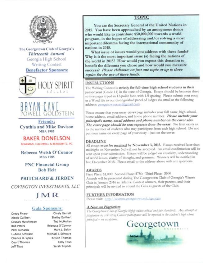 Middle School Essay Contest - Metropolitan North Georgia
