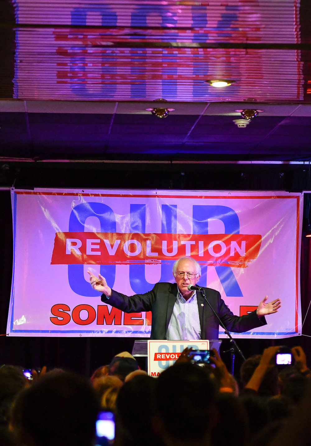 Nikon D500, 1/320 @f/3.2, ISO 4000, 70-200mm  Vermont Senator Bernie Sanders addresses community members as he endorses Our Revolution Somerville at the ONCE Ballroom in Somerville, Monday, Oct. 23, 2017.
