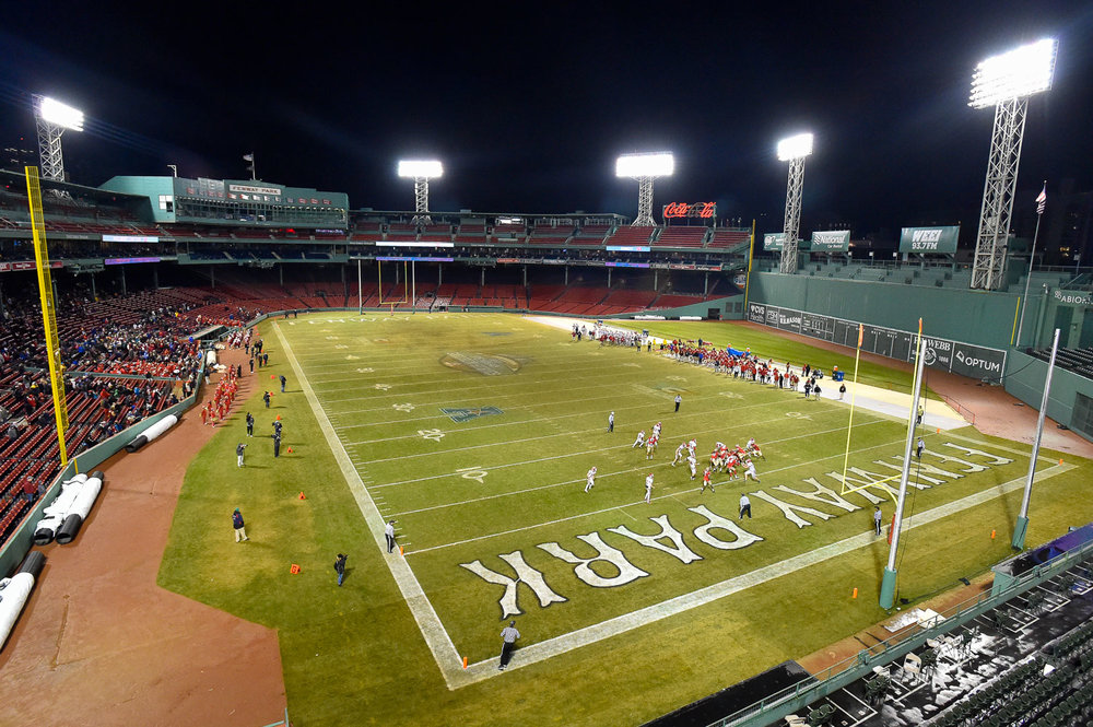 Nikon D4s, 1/640 @ f/7.1, ISO 8000, 17-35mm  Athletes on the Masconomet football team compete against Everett during the 2017 Fenway Gridiron game at Fenway Park, Wednesday, Nov. 22, 2017.  [Wicked Local Staff Photo / David Sokol]