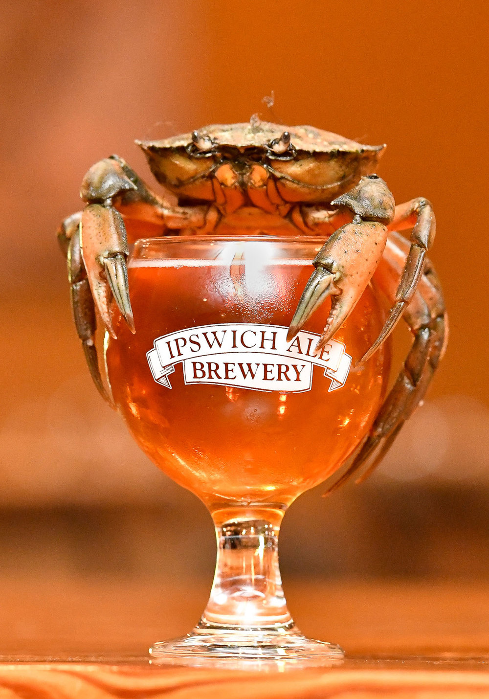 1st Place, Photo Illustration  A green crab rests on the top of a glass of beer inside the Ipswich Ale Brewer's Table to promote Ipswich Cask and Clam week, to be held May 8th-13th, 2017.