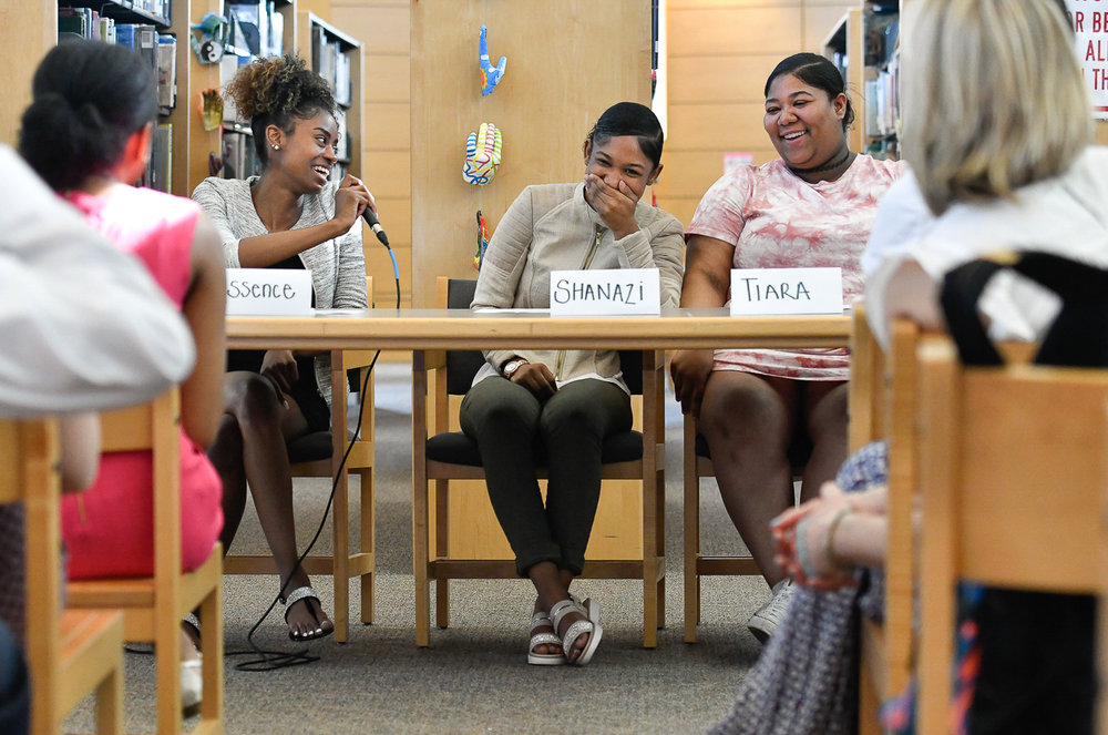3rd, Personality Photo  Marblehead High School METCO students Essence Townes, Shanazi Jackson, and Tiara Greene talk about their high school experiences inside the Marblehead High School library, Thursday, May 18, 2017.