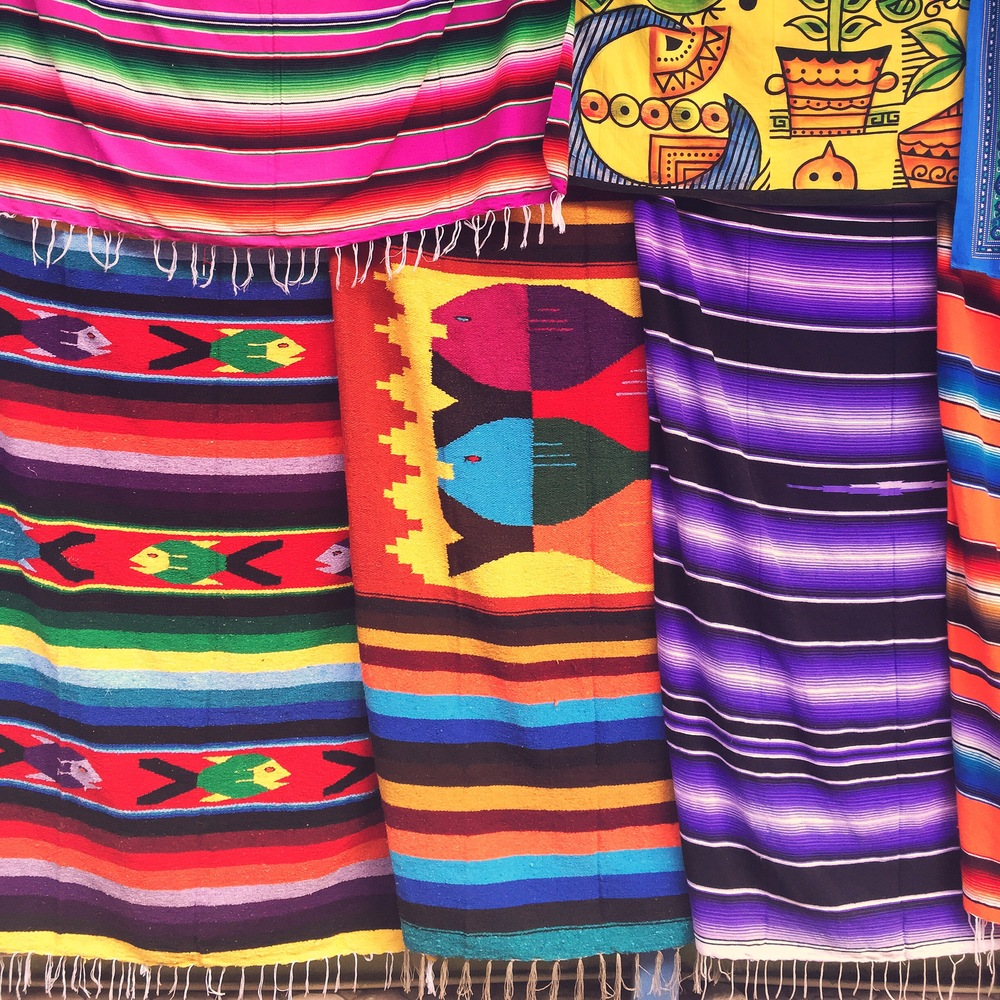 Blankets from a local marketplace in Tulum, photo credit Carolyn Stine