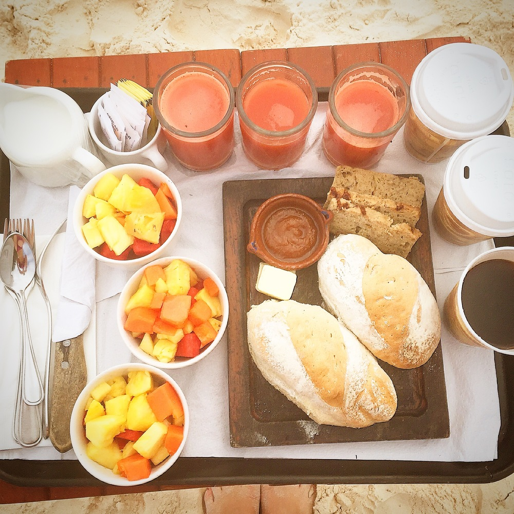 Our freshly delivered breakfast, photo credit Carolyn Stine