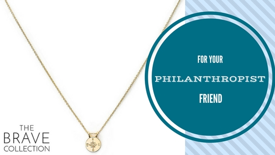 Compass Chain Necklace $115 We all have those friends that are volunteering abroad and on the board of every major charity. A gift from The Brave Collection would make the perfect gift. Handmade in Cambodia using traditional metalwork techniques by local artisans 10% of the profits are donated to fight human trafficking in Cambodia.