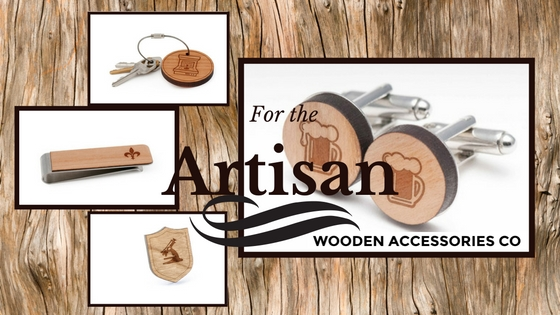 Key Chain $12, Money Clips $15, Lapel Pins $12, Cufflinks $25 A gift from Wooden Accessories Co make the best conversation starters. With each gift personalized the option of branding is endless from their initials, sports team or icon that best represents them. The accessory options are endless but are favorites are their And chic money clip to stylish cufflinks and key fob.   Plus your artisan friend will be pleased to know that all products are made locally in our nation's capital from local cherry wood.