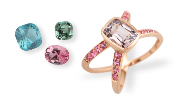 (Picture above: light blue Aquamarine, pink and mint green Tourmaline, all in excellent cut. The ring has a lilac Spinel as centre stone and smaller neon pink Spinels on the sides, set in 18K matte pink gold)