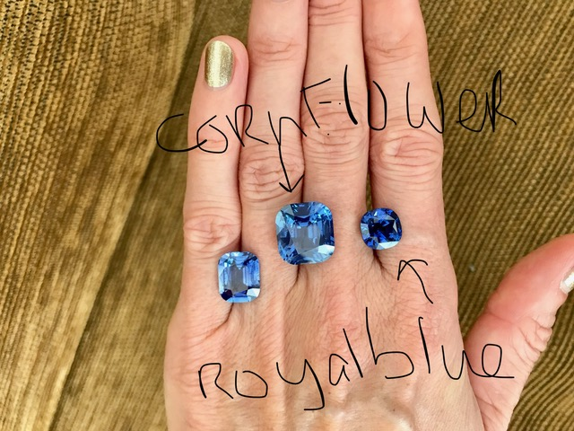 (Picture above: 3 exquisite blue Sapphires I came across during my last trip to Bangkok a few weeks ago. Very, very hard to find these quality stones, esp. the middle 'Cornflower' and the right 'Royal Blue' Sapphires. The left one is a 5 carat+ stone for a customer; it took me 6 months to find this color, size and excellent cut)
