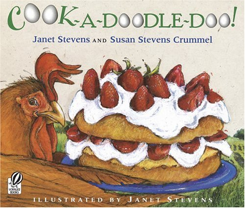 "BY JANET STEVENS AND SUSAN STEVENS CRUMMEL Buy Now! ""Cook-a-Doodle-Doo!"" crows Big Brown Rooster. ""Let's get cooking!"" So Rooster and his eager assistants: Turtle, Iguana and Potbellied Pig, set out to make the most wonderful, magnificent strawberry shortcake in the whole wide world. Rooster's glad to have help, but there's one big problem, none of his friends know how to cook!"