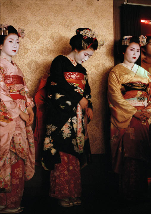 Japan. Kyoto. Maiko-san watches the Spring Maiko-odor dance in Gion. 1999 - 16x12inches £600 - Edition of 6 + 2AP's - 20x24inches £1000 - Edition of 4 + 2AP's