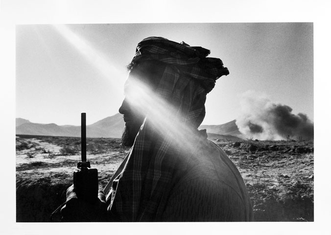 Afghanistan. North of Kabul. Ex-government commander under mortar fire. 1996.