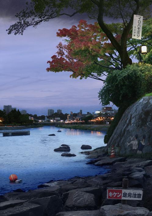 Tokyo Story 9 Bankside (after Hiroshige)