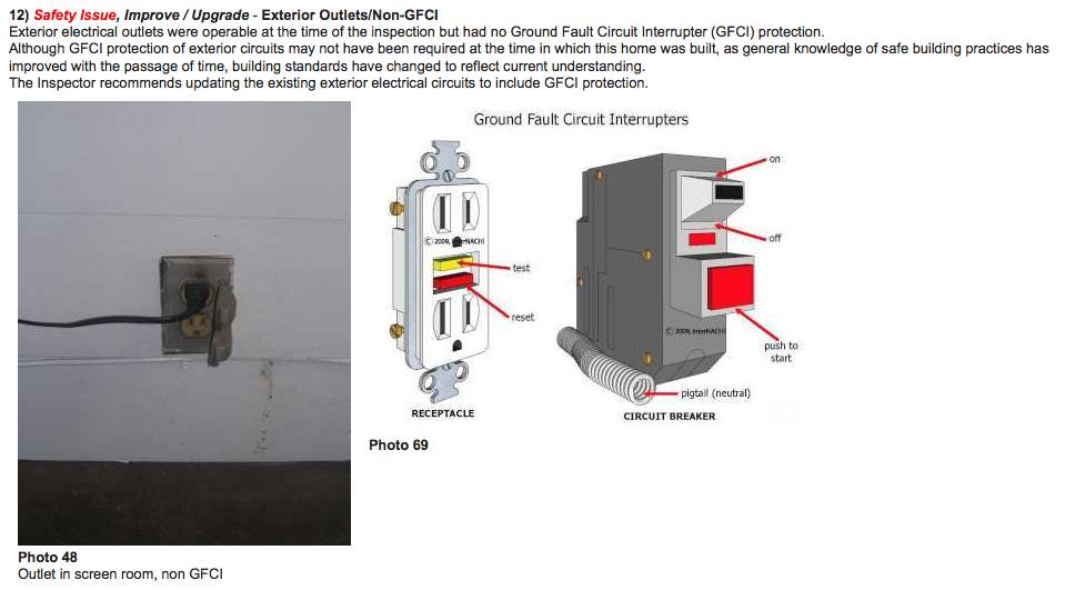 Sample photo from report indicating electrical improvements recommended.