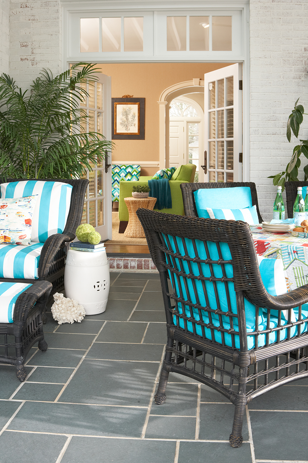 Lounge Chair Cushions: Cabana Turquoise Accent Pillow: Pinnakerbay-Sailor Dining Chairs: Rave-Aqua Accent Pillows: Cabana Turquoise Table Cloth: Beachhuts-Cabana