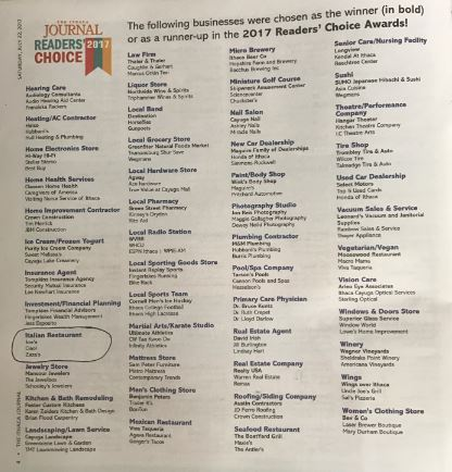 For another year in a row, Joe's Restaurant was chosen as the winner for the best Italian Restaurant in the 2017 Ithaca Journal's Reader Choice Awards!  Thanks everyone!