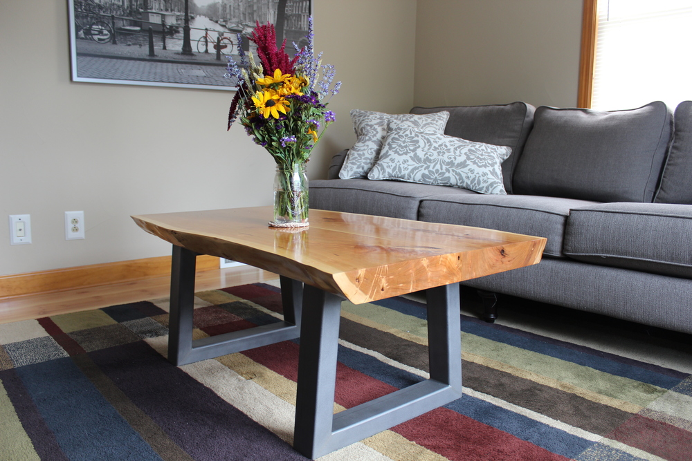 Live edge cherry slab coffee table