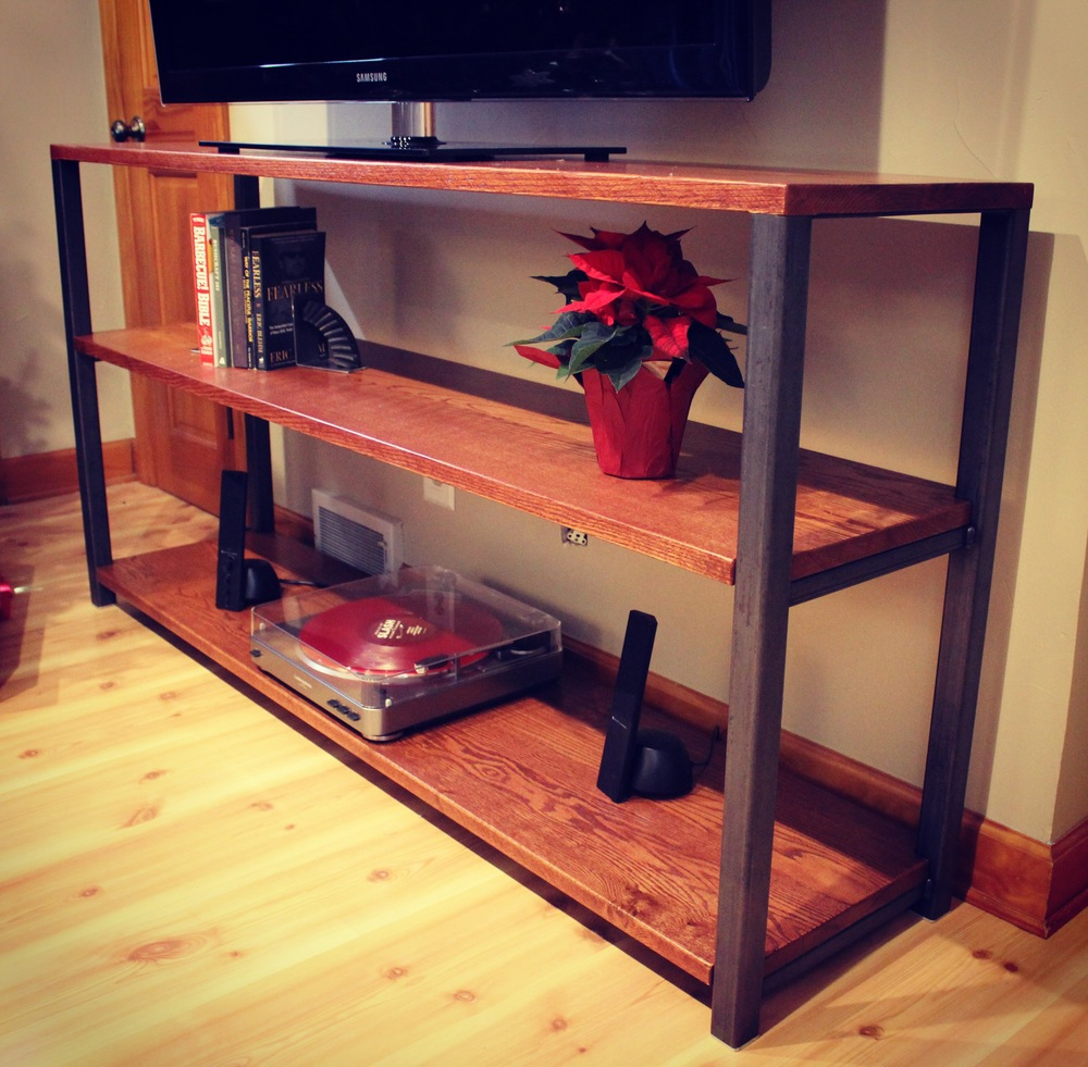 Red Oak and Steel Media Console