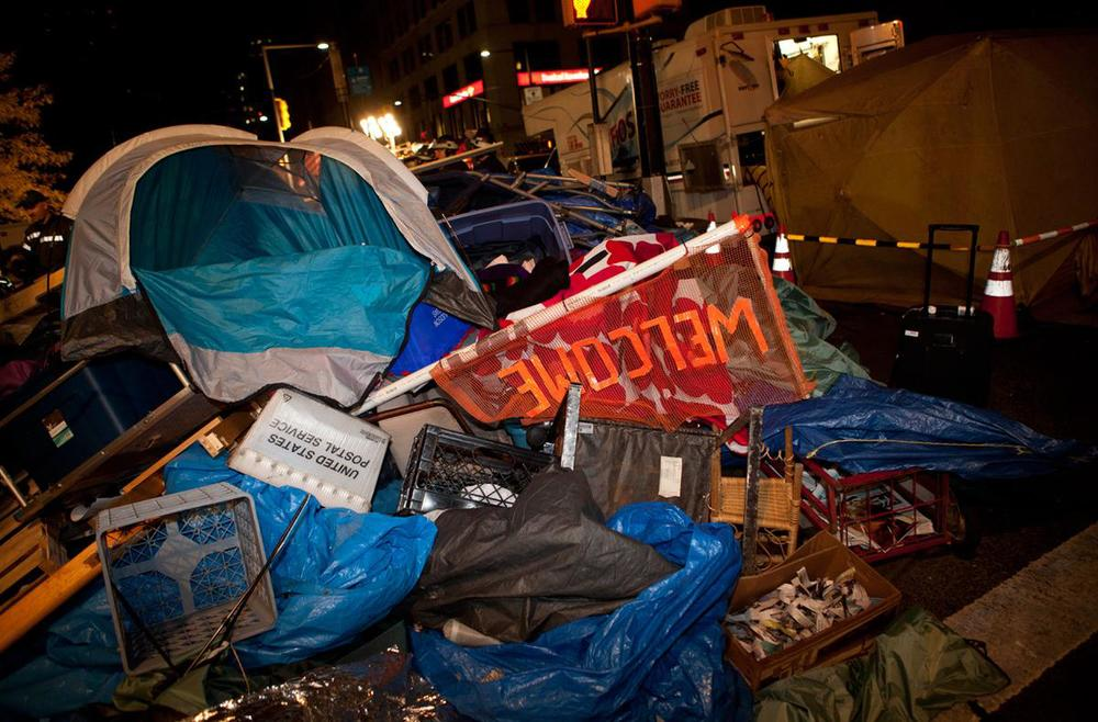 Scene from the eviction of Zuccotti Park, Occupy Wall Street's encampment in New York on Tuesday, November 15, 2011.
